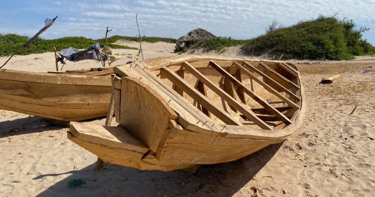 Pirogues being built in Gambia