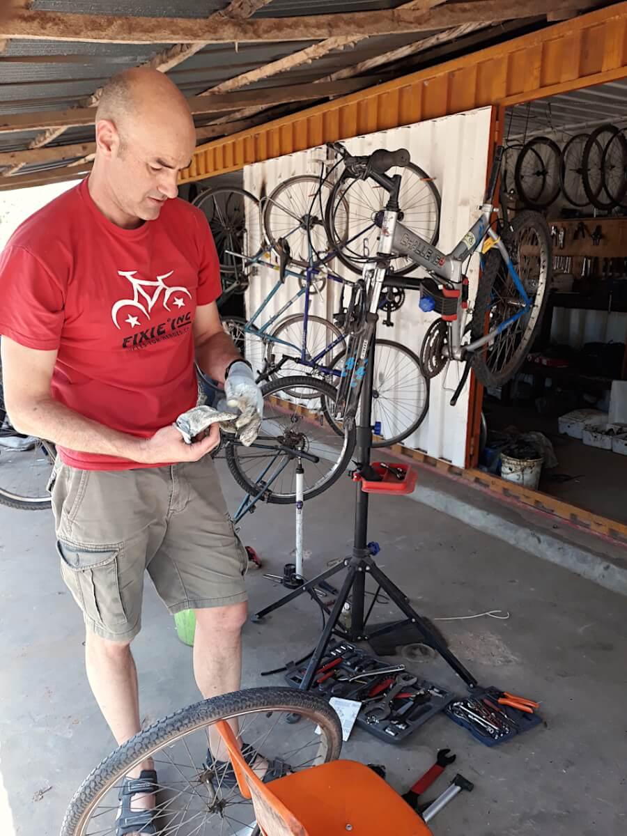 Nick at bike repair shop