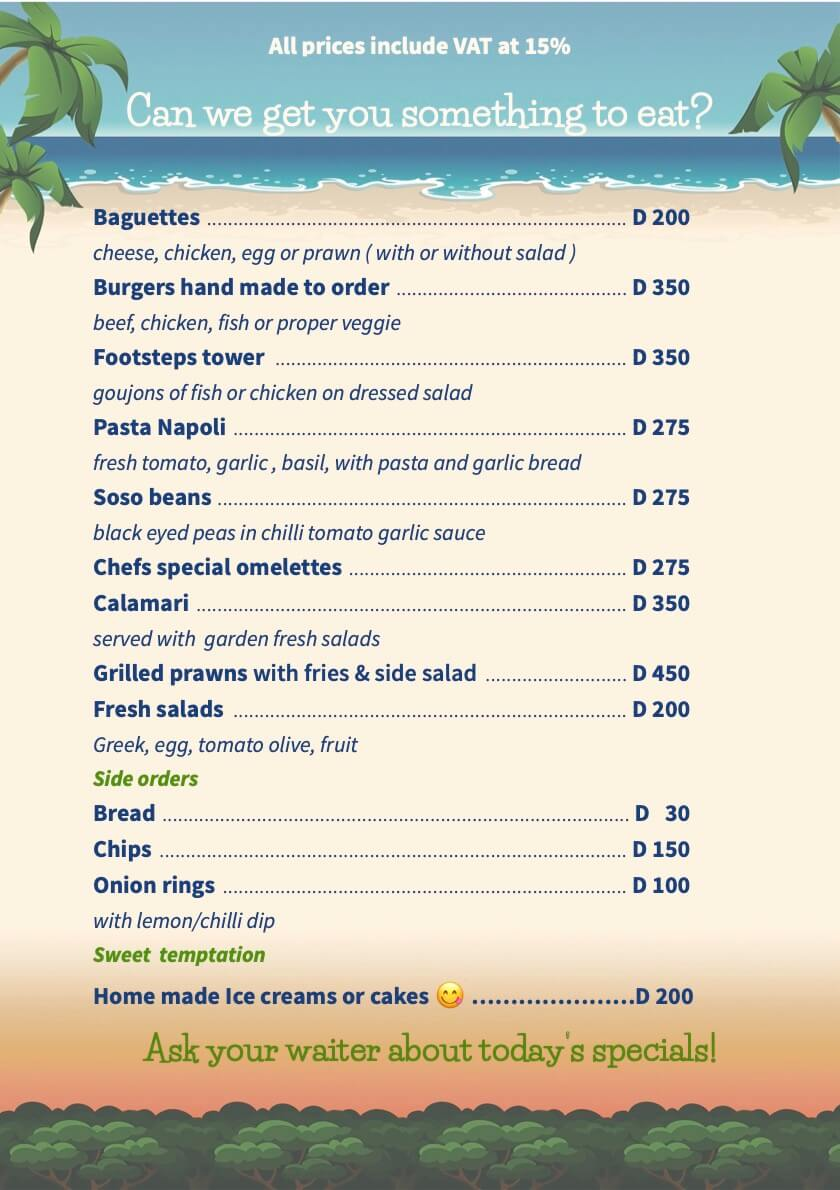 Gambia food Lunchtime food menu